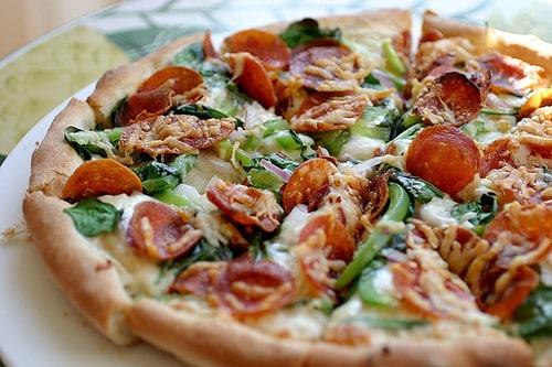 Pepperoni, Feta, & Spinach Pizza